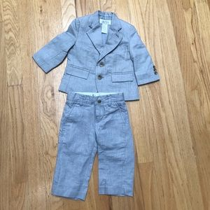 Janie and Jack Gray Linen suit 6-12 worn once!